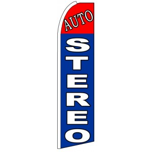 Auto Stereo - Blue Advertising Feather Flag Banner