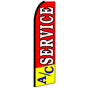 AC Service - Red Advertising Feather Flag Banner