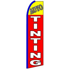 Auto Tinting - Red Advertising Feather Flag Banner