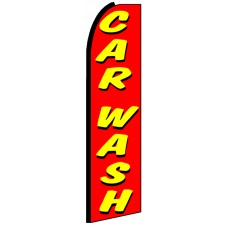 Car Wash - Red Advertising Feather Flag Banner