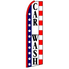 Car Wash - Stars Advertising Feather Flag Banner