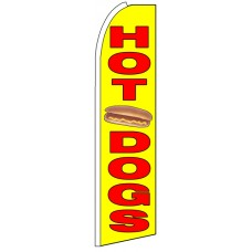 Hot Dogs - Yellow Advertising Feather Flag Banner