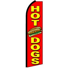 Hot Dogs - Red Advertising Feather Flag Banner