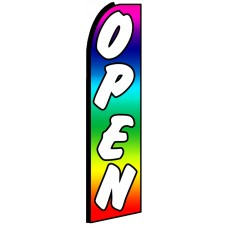 Open - Rainbow Advertising Feather Flag Banner