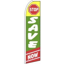 Stop Save Now - Green Feather Flag Banner