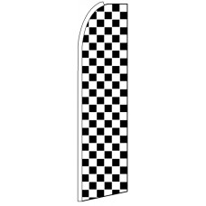 Black White Checkers - Feather Flag Banner
