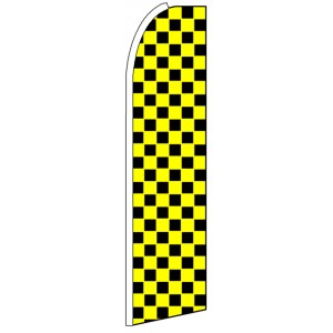 Black Yellow Checkers - Feather Flag Banner